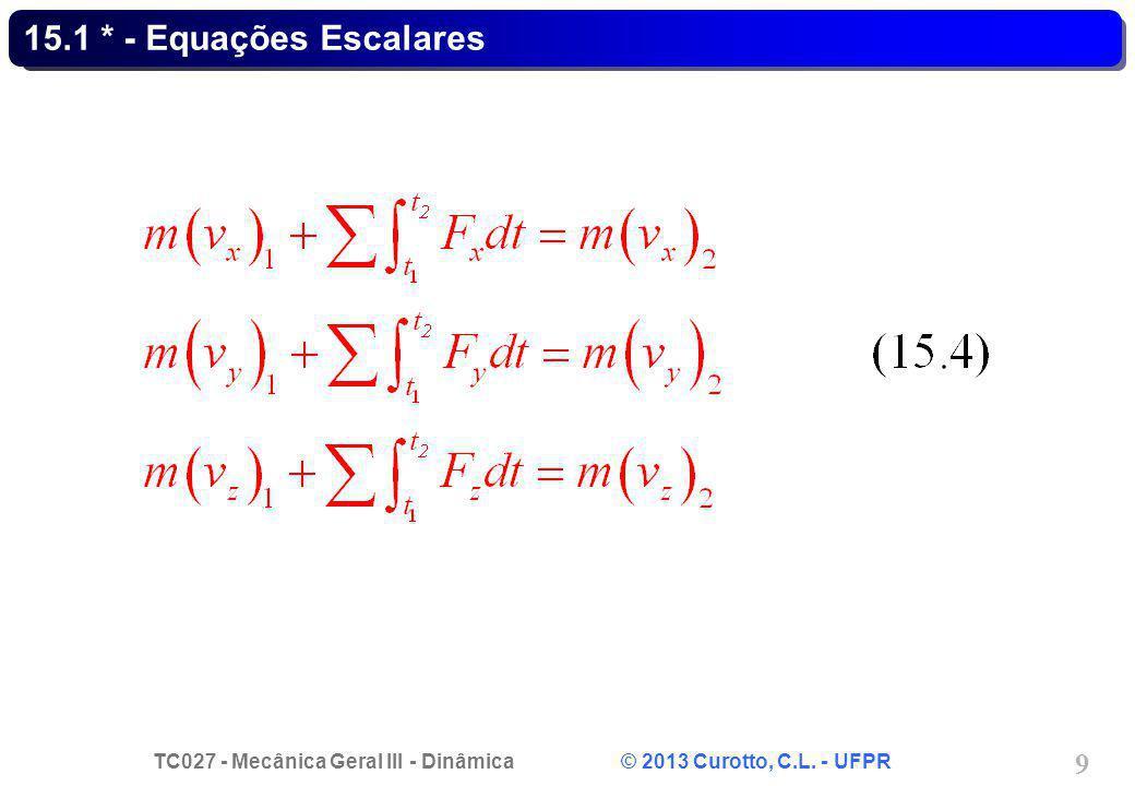 TC027 - Mecânica Geral III - Dinâmica © 2013 Curotto, C.L. - UFPR 9 15.1 * - Equações Escalares