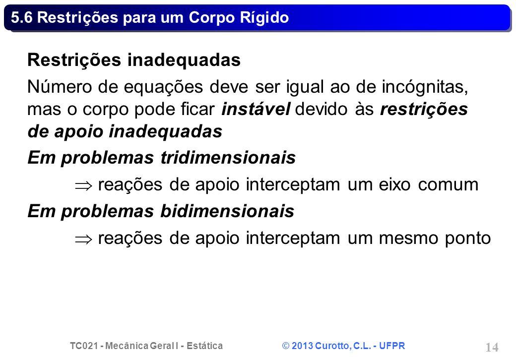 TC021 - Mecânica Geral I - Estática © 2013 Curotto, C.L. - UFPR 14 5.6 Restrições para um Corpo Rígido Restrições inadequadas Número de equações deve