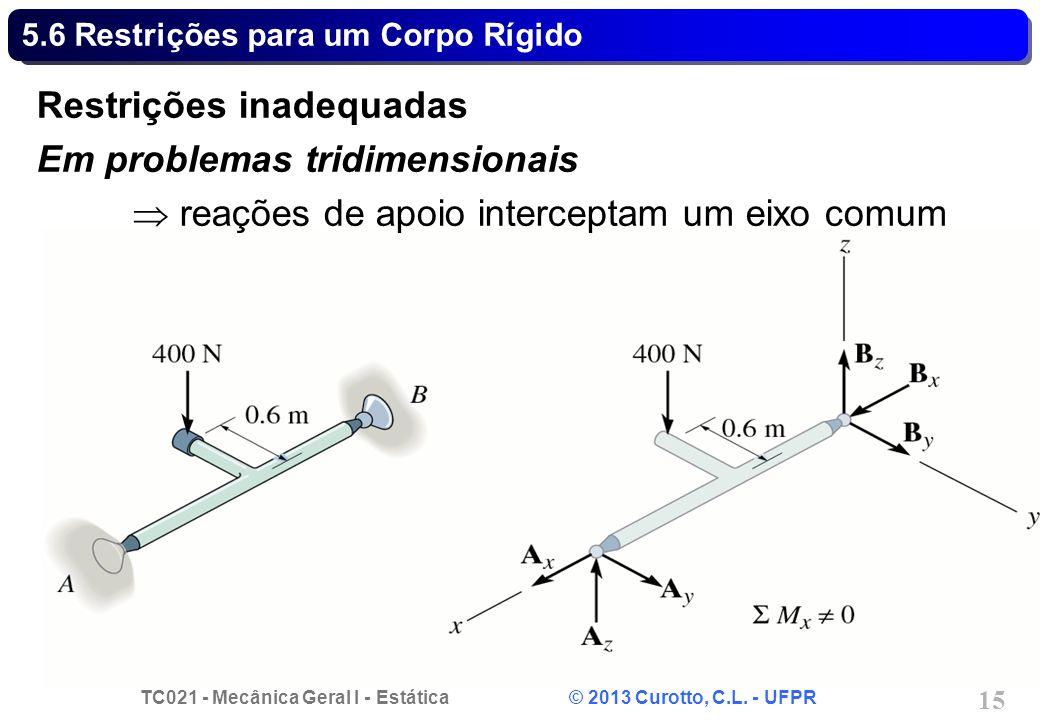 TC021 - Mecânica Geral I - Estática © 2013 Curotto, C.L. - UFPR 15 5.6 Restrições para um Corpo Rígido Restrições inadequadas Em problemas tridimensio