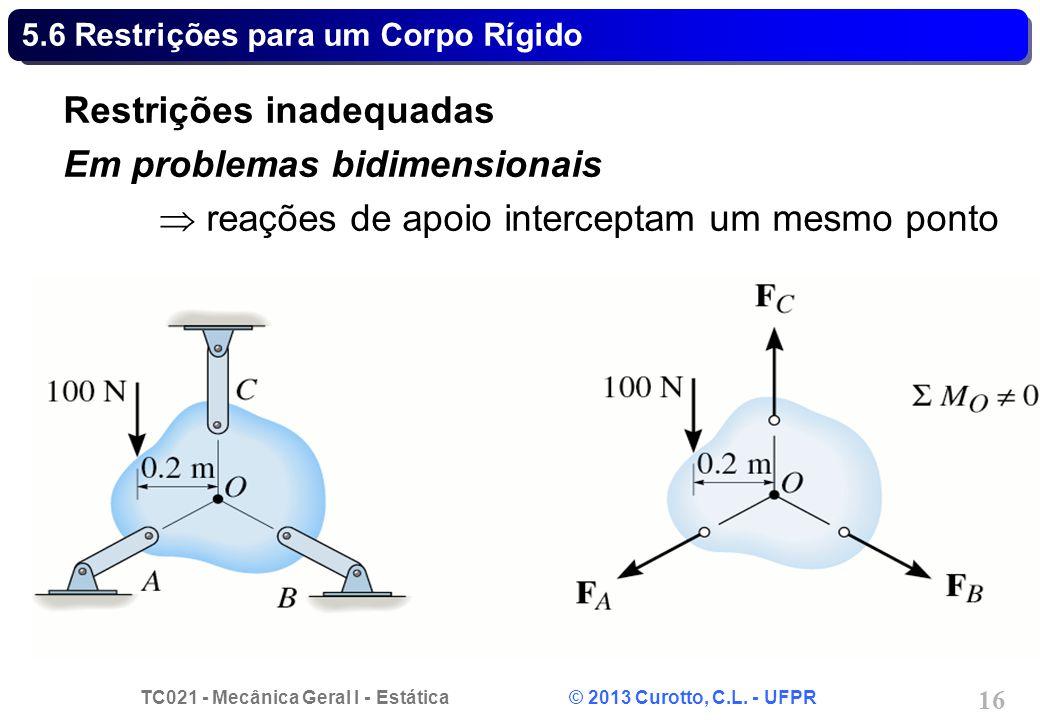 TC021 - Mecânica Geral I - Estática © 2013 Curotto, C.L. - UFPR 16 5.6 Restrições para um Corpo Rígido Restrições inadequadas Em problemas bidimension