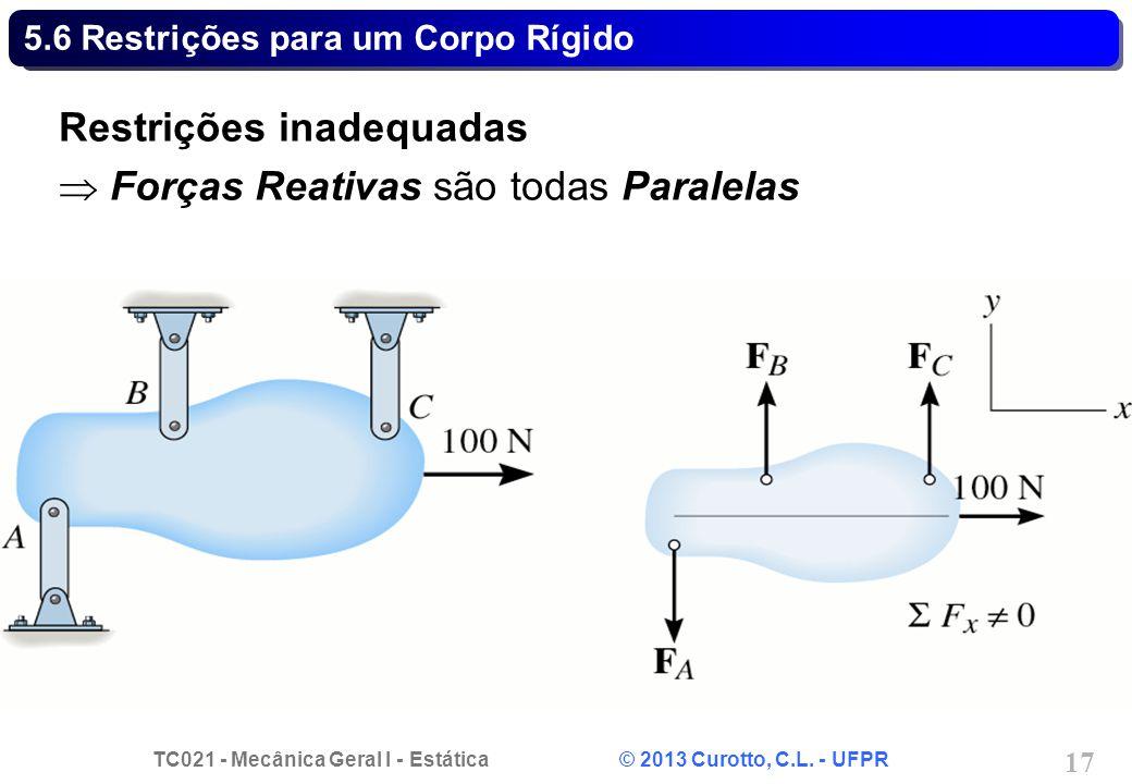 TC021 - Mecânica Geral I - Estática © 2013 Curotto, C.L. - UFPR 17 5.6 Restrições para um Corpo Rígido Restrições inadequadas Forças Reativas são toda