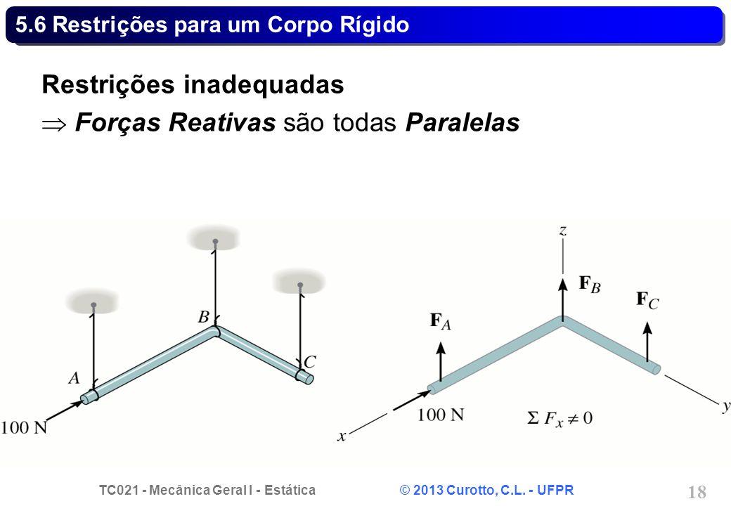 TC021 - Mecânica Geral I - Estática © 2013 Curotto, C.L. - UFPR 18 5.6 Restrições para um Corpo Rígido Restrições inadequadas Forças Reativas são toda