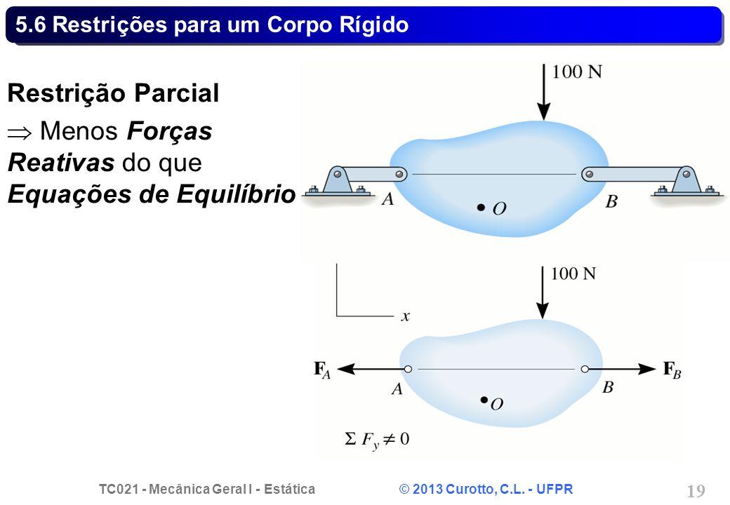 TC021 - Mecânica Geral I - Estática © 2013 Curotto, C.L. - UFPR 19 5.6 Restrições para um Corpo Rígido Restrição Parcial Menos Forças Reativas do que