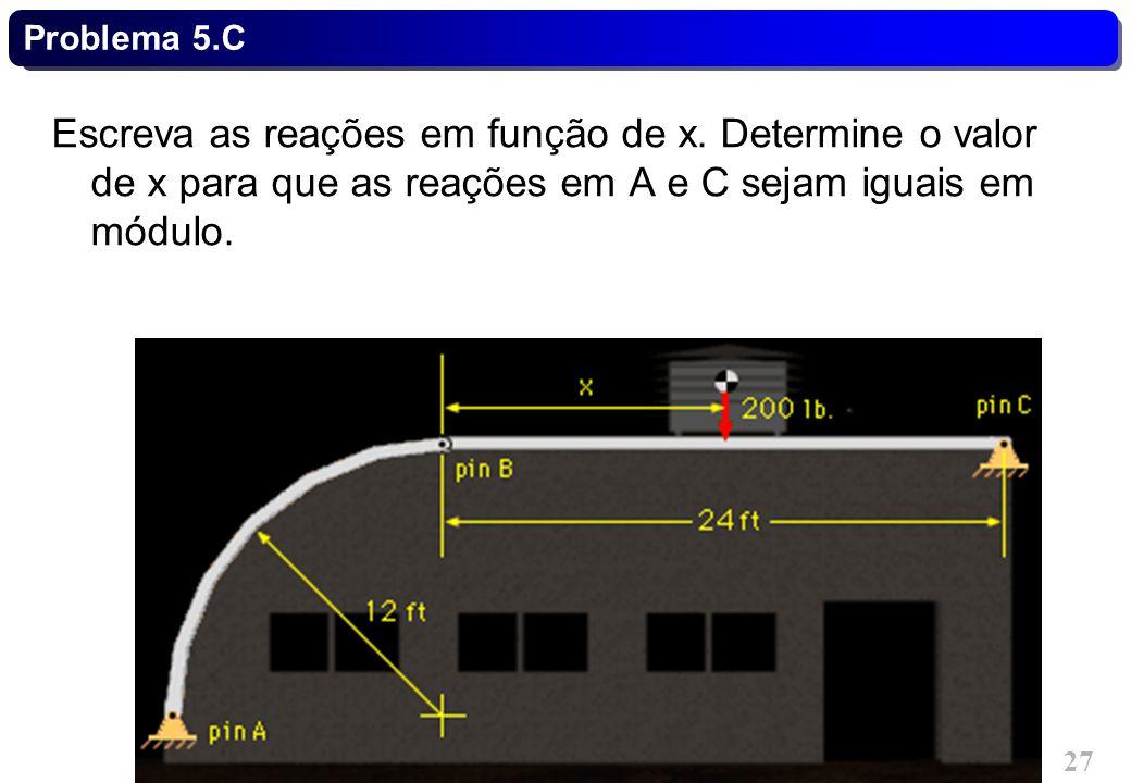TC021 - Mecânica Geral I - Estática © 2013 Curotto, C.L. - UFPR 27 Problema 5.C Escreva as reações em função de x. Determine o valor de x para que as