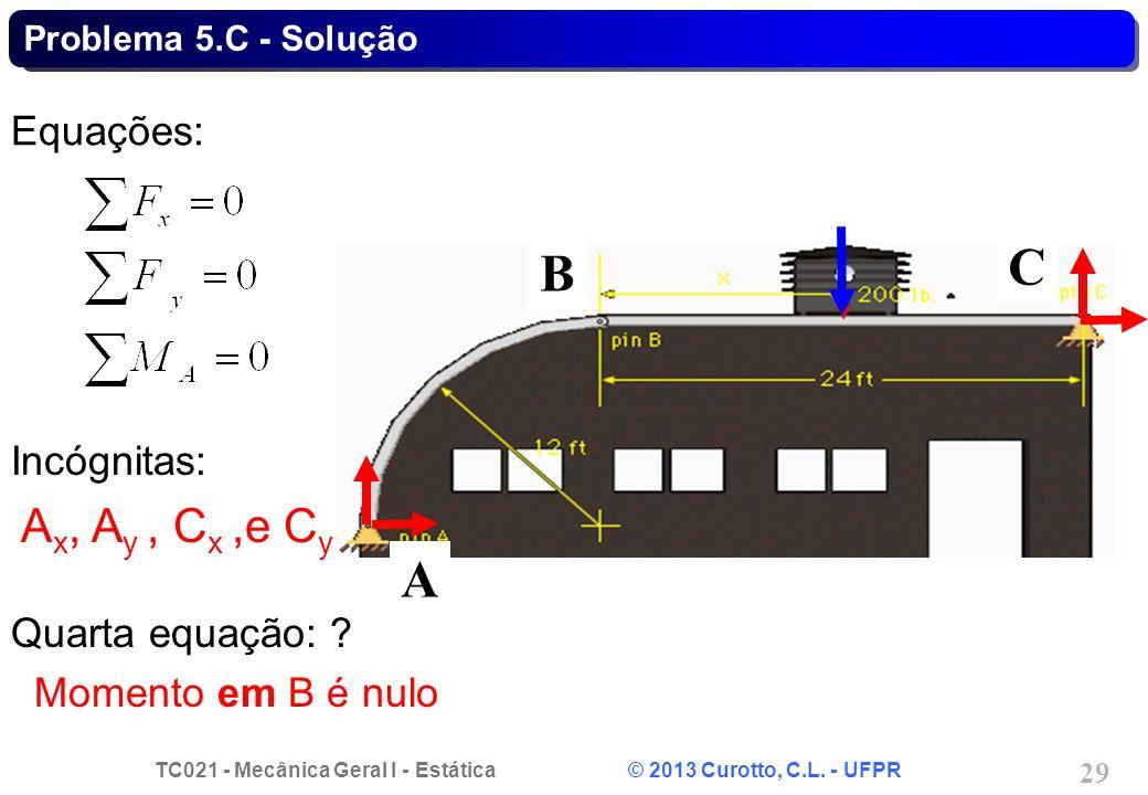 TC021 - Mecânica Geral I - Estática © 2013 Curotto, C.L. - UFPR 29 Equações: Incógnitas: A x, A y, C x,e C y Quarta equação: ? Momento em B é nulo B A