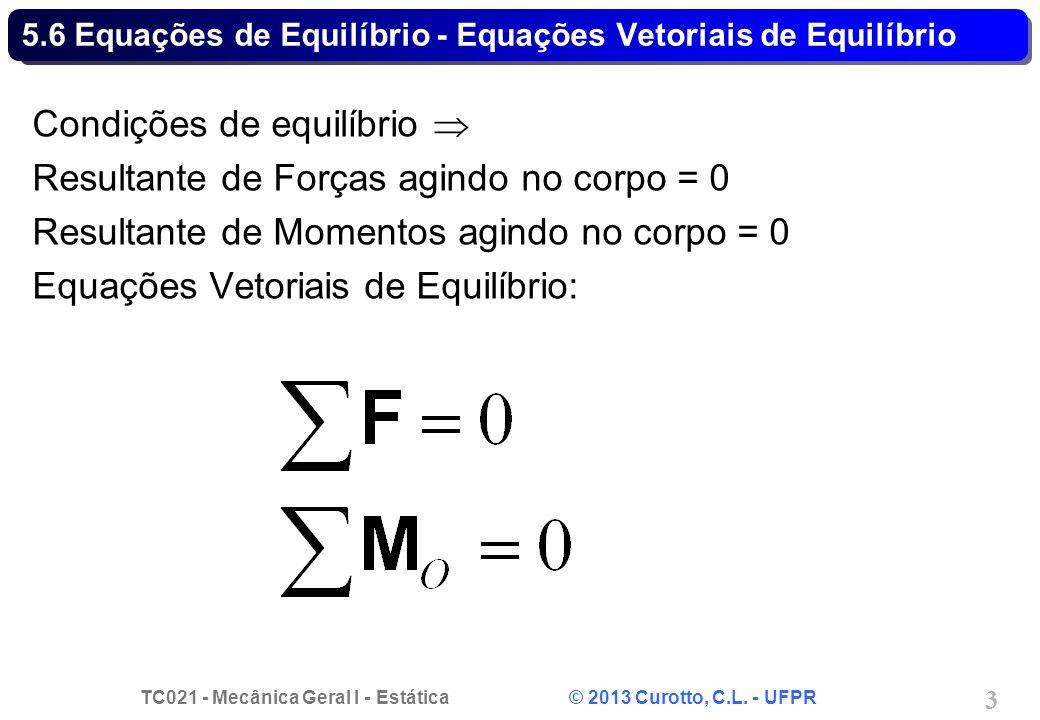 TC021 - Mecânica Geral I - Estática © 2013 Curotto, C.L. - UFPR 3 5.6 Equações de Equilíbrio - Equações Vetoriais de Equilíbrio Condições de equilíbri