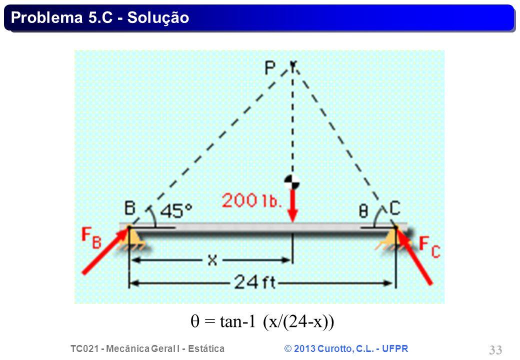 TC021 - Mecânica Geral I - Estática © 2013 Curotto, C.L. - UFPR 33 = tan-1 (x/(24-x)) Problema 5.C - Solução