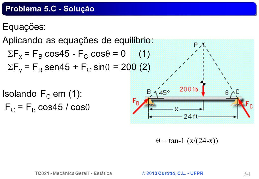 TC021 - Mecânica Geral I - Estática © 2013 Curotto, C.L. - UFPR 34 = tan-1 (x/(24-x)) Equações: Aplicando as equações de equilíbrio: F x = F B cos45 -