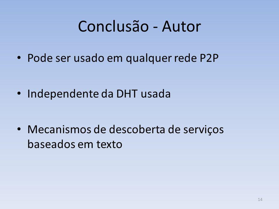 Conclusão - Autor Pode ser usado em qualquer rede P2P Independente da DHT usada Mecanismos de descoberta de serviços baseados em texto 14