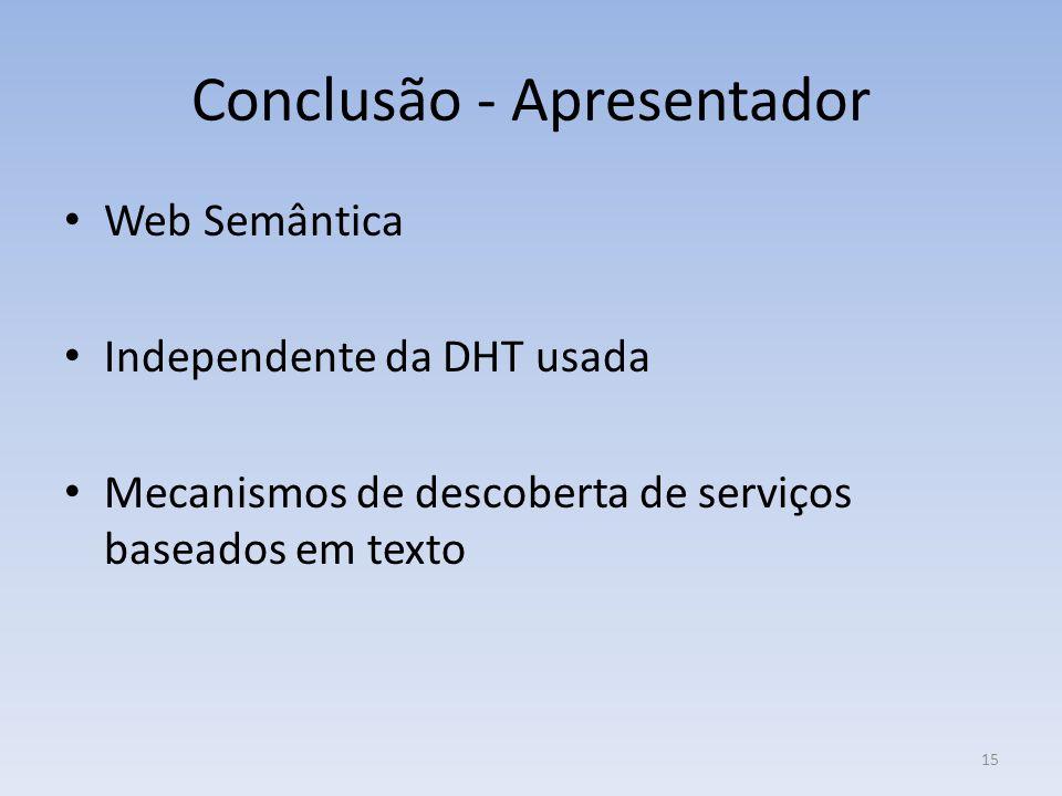 Conclusão - Apresentador Web Semântica Independente da DHT usada Mecanismos de descoberta de serviços baseados em texto 15