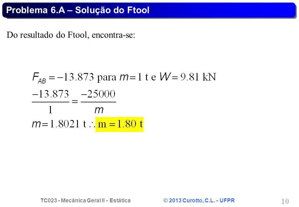 TC023 - Mecânica Geral II - Estática © 2013 Curotto, C.L. - UFPR 10 Problema 6.A – Solução do Ftool Do resultado do Ftool, encontra-se: