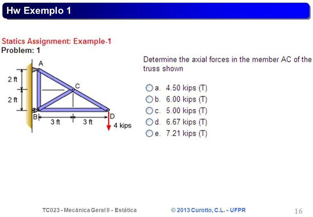 TC023 - Mecânica Geral II - Estática © 2013 Curotto, C.L. - UFPR 16 Hw Exemplo 1