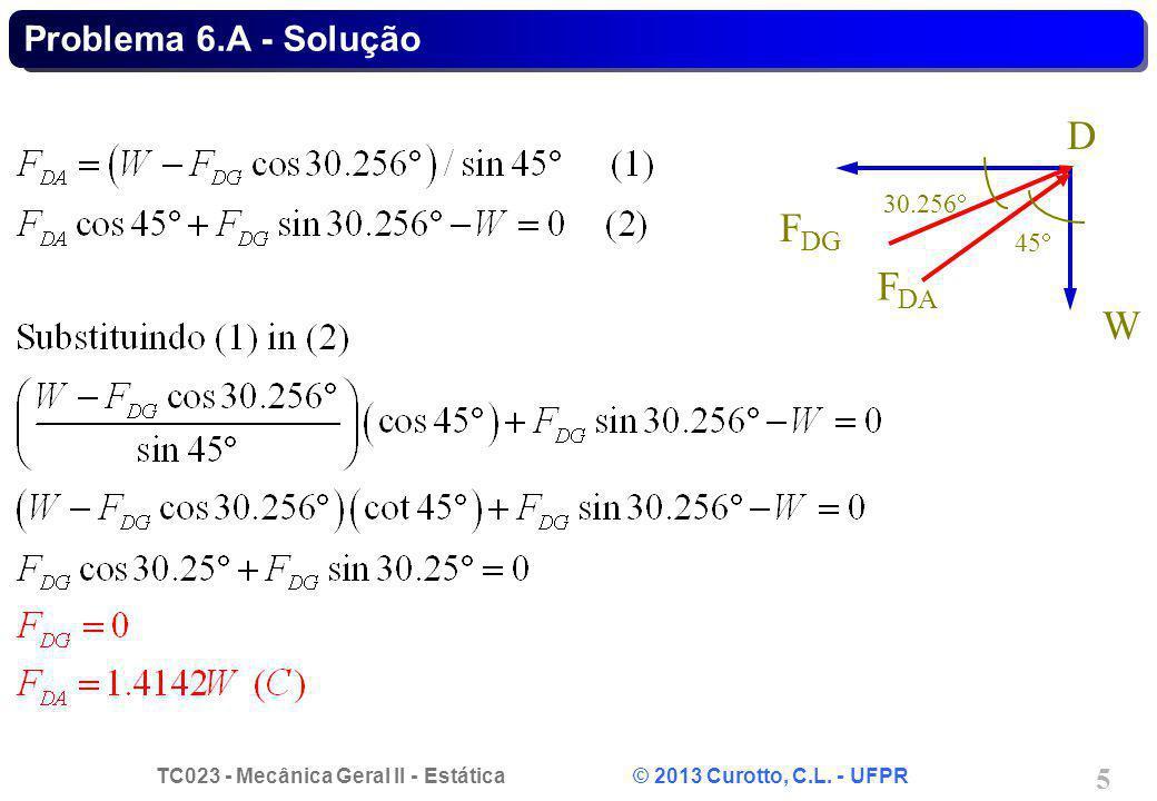 TC023 - Mecânica Geral II - Estática © 2013 Curotto, C.L. - UFPR 5 Problema 6.A - Solução D F DG W F DA 45 30.256