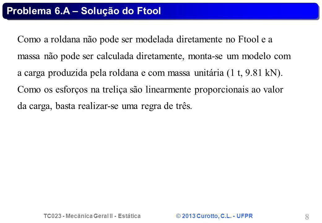 TC023 - Mecânica Geral II - Estática © 2013 Curotto, C.L. - UFPR 8 Problema 6.A – Solução do Ftool Como a roldana não pode ser modelada diretamente no