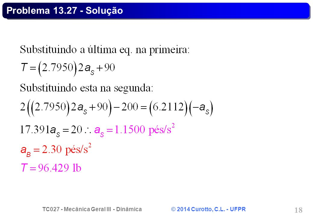 TC027 - Mecânica Geral III - Dinâmica © 2014 Curotto, C.L. - UFPR 18 Problema 13.27 - Solução