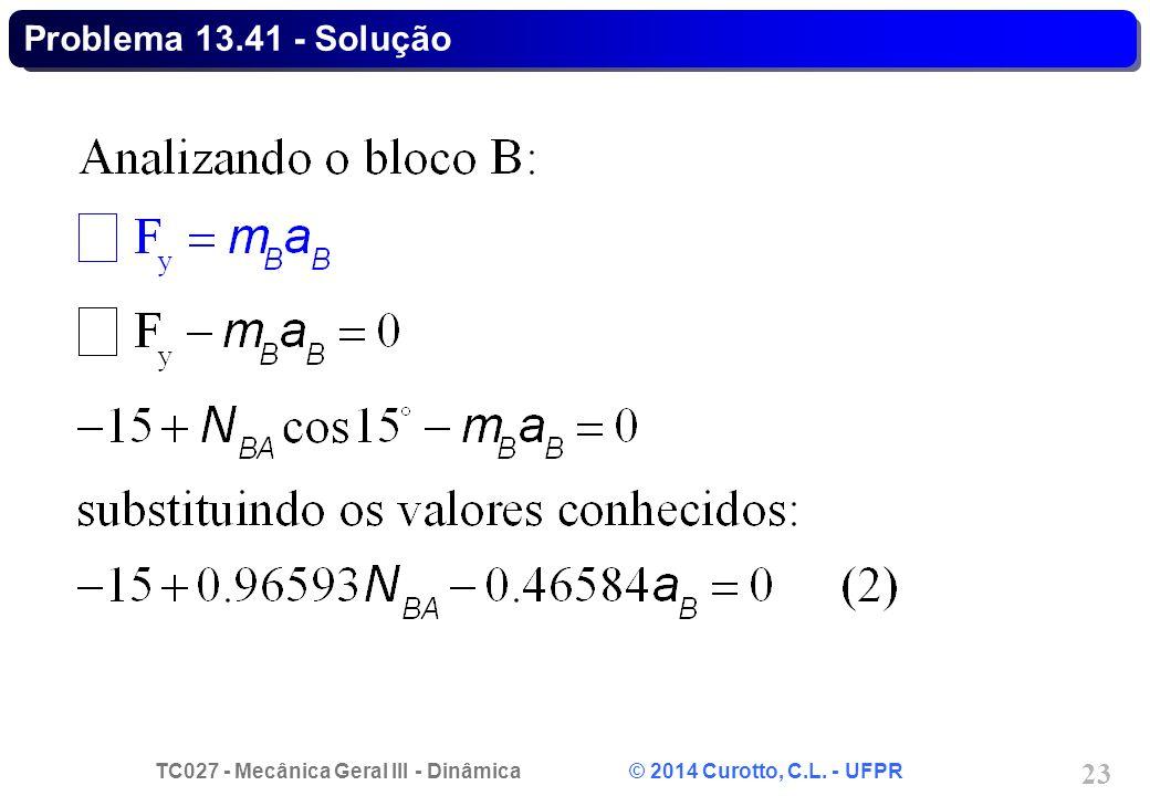 TC027 - Mecânica Geral III - Dinâmica © 2014 Curotto, C.L. - UFPR 23 Problema 13.41 - Solução