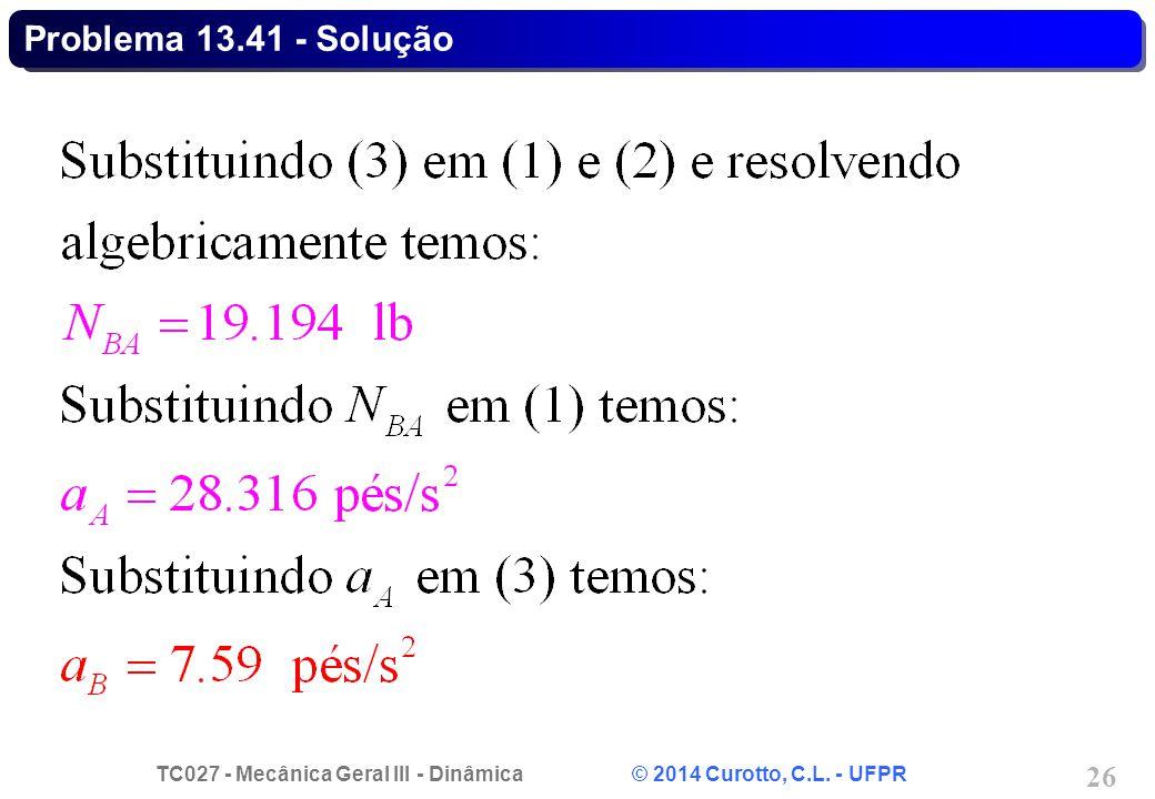 TC027 - Mecânica Geral III - Dinâmica © 2014 Curotto, C.L. - UFPR 26 Problema 13.41 - Solução