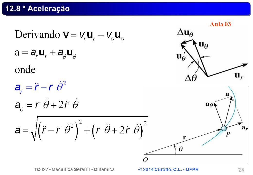 TC027 - Mecânica Geral III - Dinâmica © 2014 Curotto, C.L. - UFPR 28 12.8 * Aceleração Aula 03