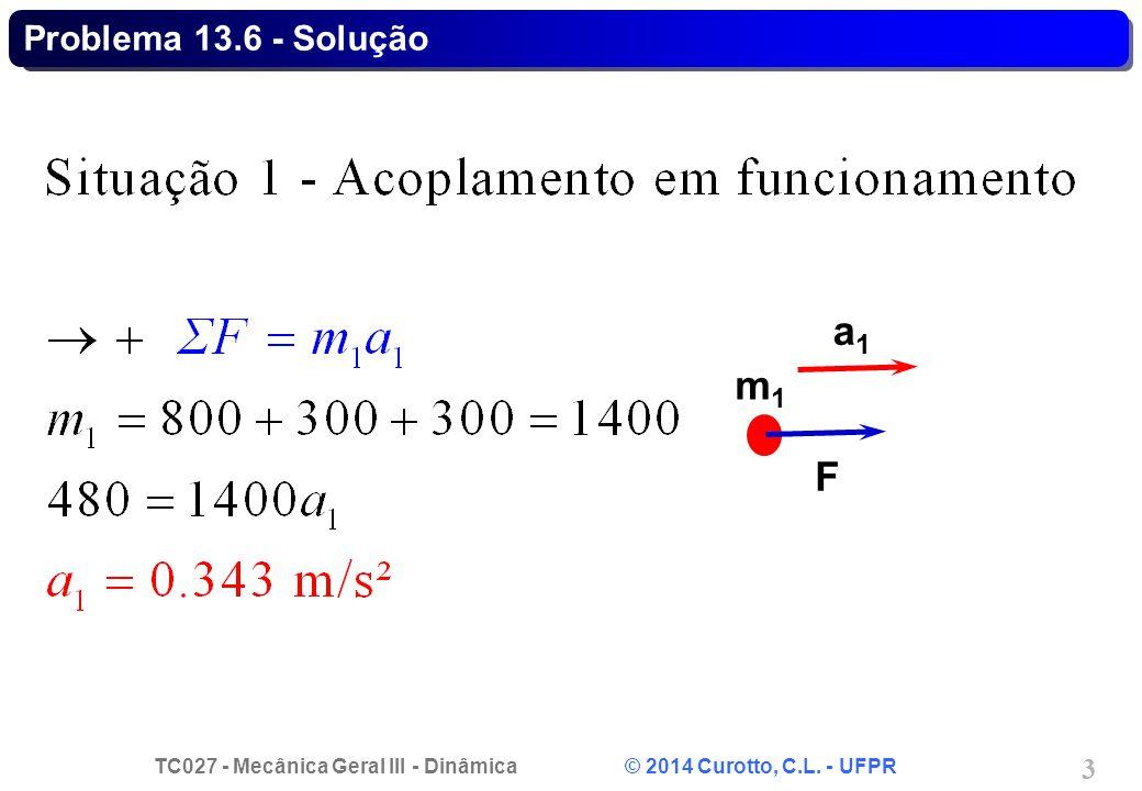 TC027 - Mecânica Geral III - Dinâmica © 2014 Curotto, C.L. - UFPR 4 Problema 13.6 - Solução