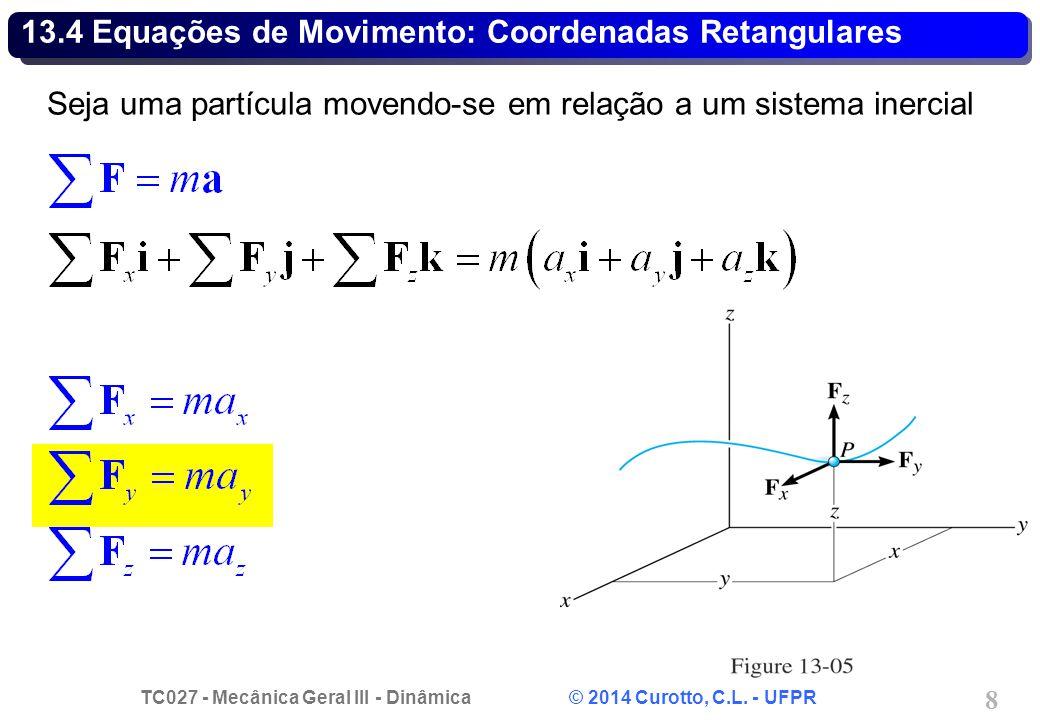 TC027 - Mecânica Geral III - Dinâmica © 2014 Curotto, C.L. - UFPR 19 Problema 13.41