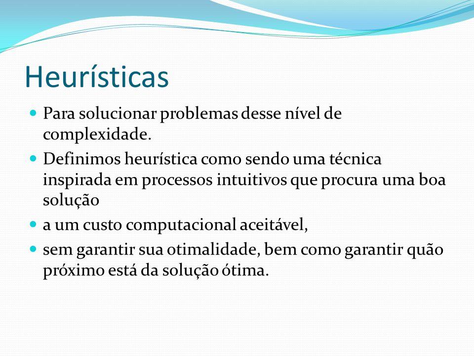 Heurísticas Para solucionar problemas desse nível de complexidade. Definimos heurística como sendo uma técnica inspirada em processos intuitivos que p
