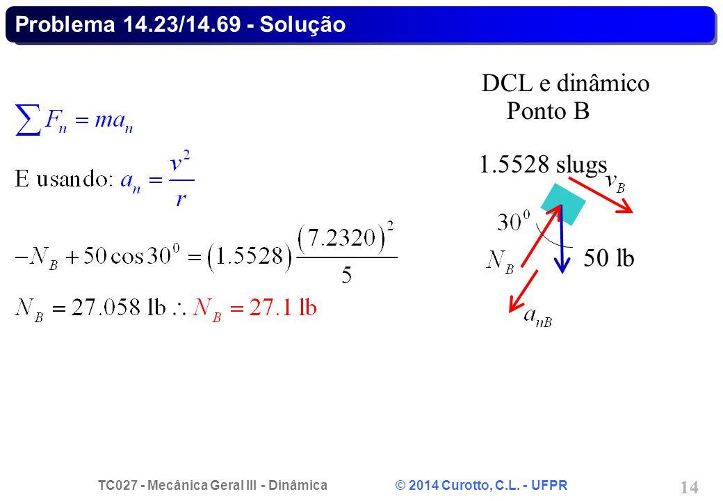 TC027 - Mecânica Geral III - Dinâmica © 2014 Curotto, C.L. - UFPR 14 Problema 14.23/14.69 - Solução 50 lb DCL e dinâmico Ponto B 1.5528 slugs