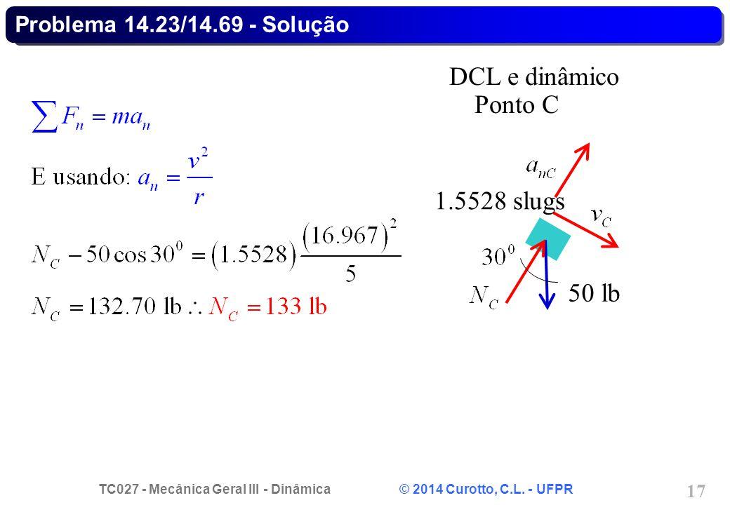 TC027 - Mecânica Geral III - Dinâmica © 2014 Curotto, C.L. - UFPR 17 Problema 14.23/14.69 - Solução 50 lb DCL e dinâmico Ponto C 1.5528 slugs