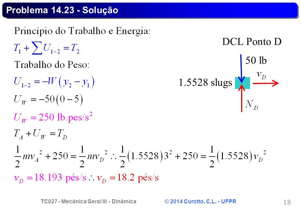 TC027 - Mecânica Geral III - Dinâmica © 2014 Curotto, C.L. - UFPR 18 Problema 14.23 - Solução 50 lb DCL Ponto D 1.5528 slugs