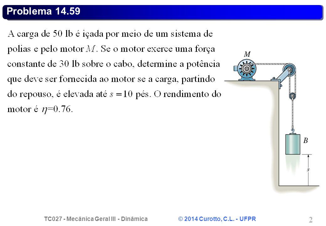 TC027 - Mecânica Geral III - Dinâmica © 2014 Curotto, C.L. - UFPR 2 Problema 14.59