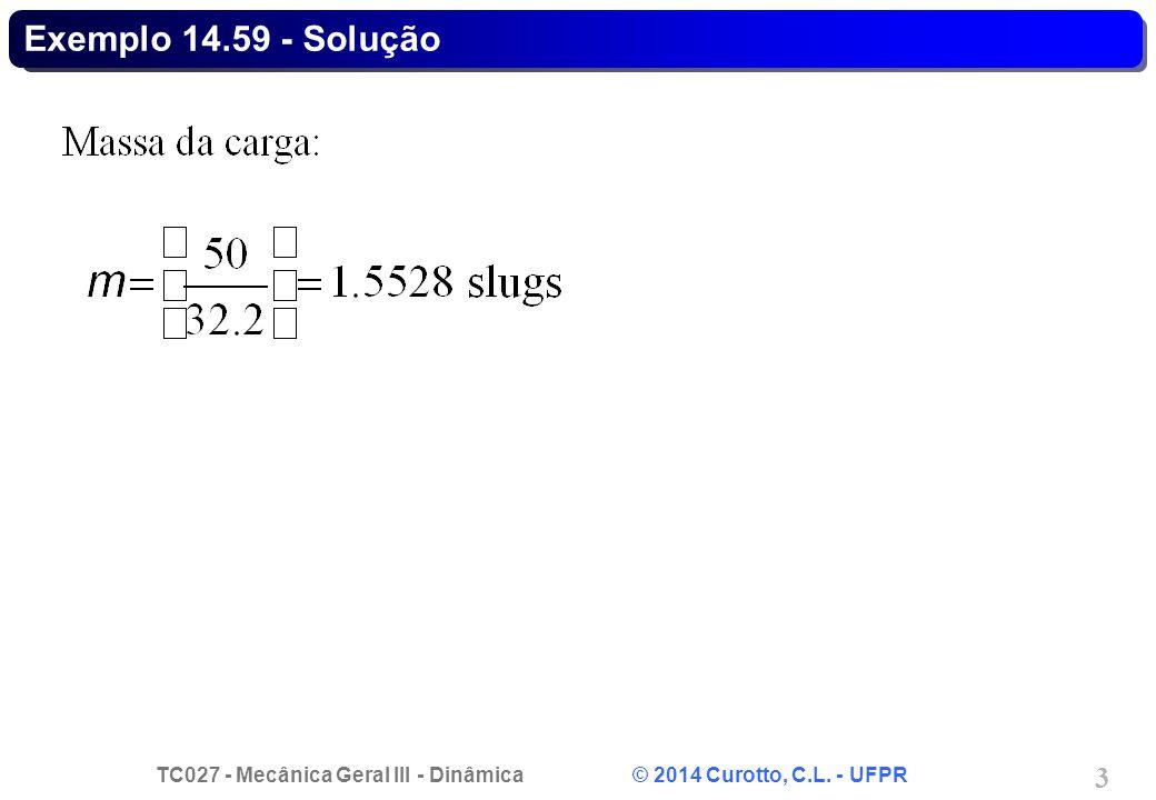 TC027 - Mecânica Geral III - Dinâmica © 2014 Curotto, C.L. - UFPR 3 Exemplo 14.59 - Solução