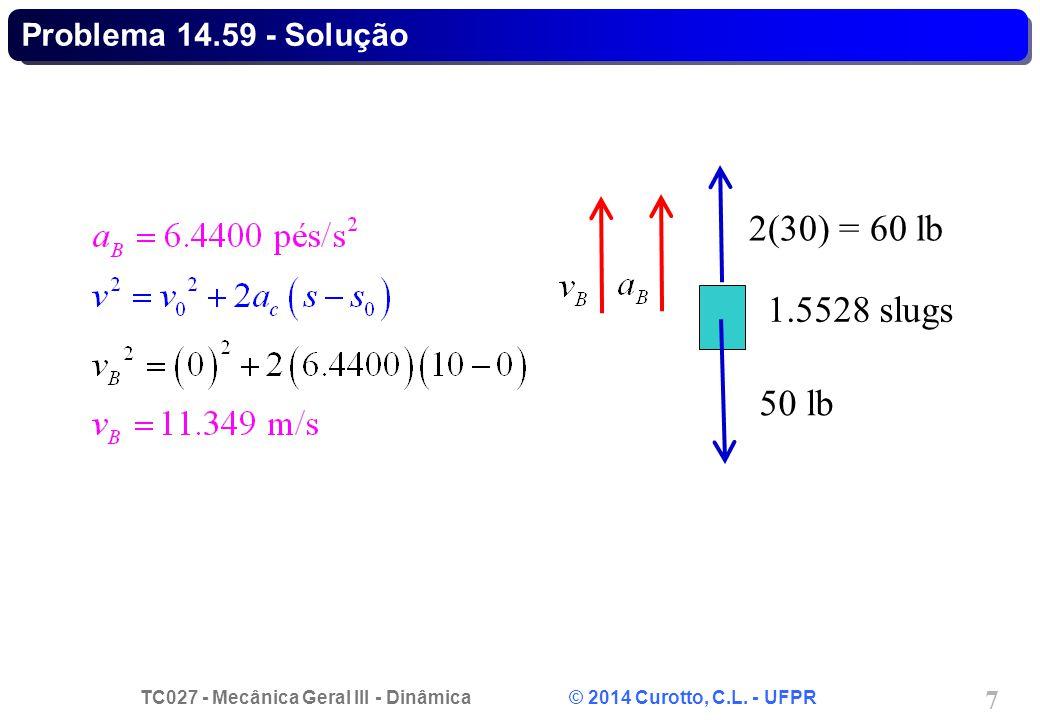 TC027 - Mecânica Geral III - Dinâmica © 2014 Curotto, C.L. - UFPR 7 Problema 14.59 - Solução 50 lb 2(30) = 60 lb 1.5528 slugs