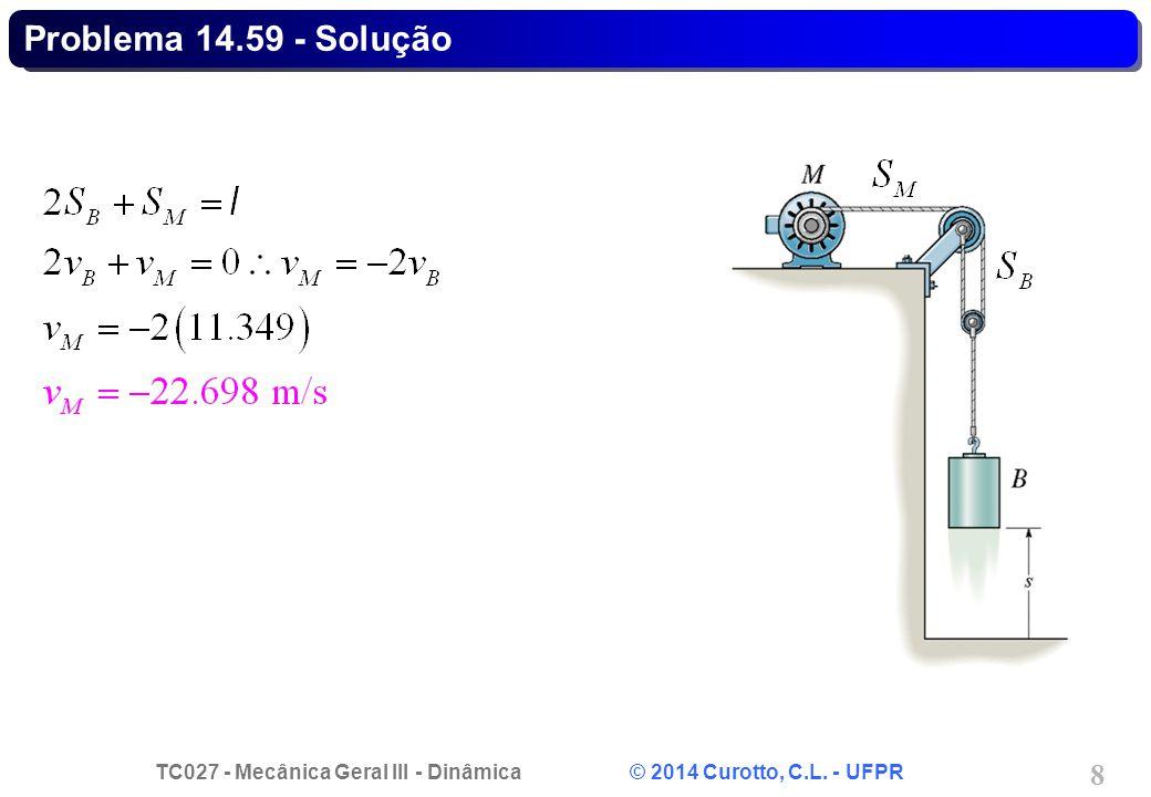 TC027 - Mecânica Geral III - Dinâmica © 2014 Curotto, C.L. - UFPR 8 Problema 14.59 - Solução