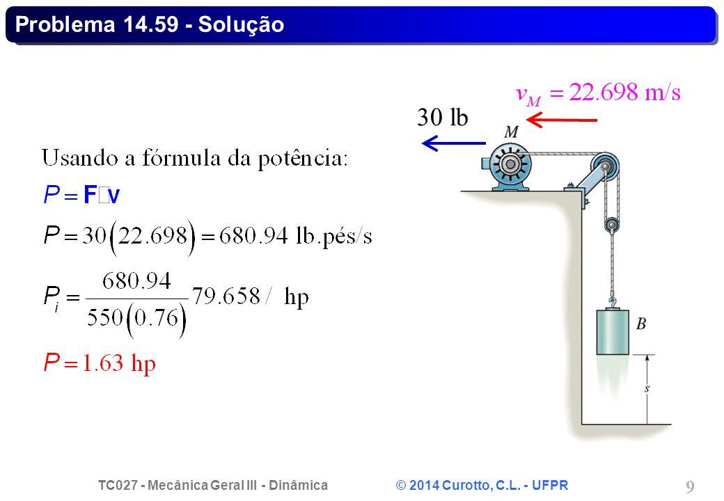 TC027 - Mecânica Geral III - Dinâmica © 2014 Curotto, C.L. - UFPR 9 Problema 14.59 - Solução 30 lb