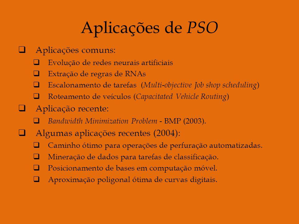 Aplicações de PSO Aplicações comuns: Evolução de redes neurais artificiais Extração de regras de RNAs Escalonamento de tarefas ( Multi-objective Job shop scheduling ) Roteamento de veículos ( Capacitated Vehicle Routing ) Aplicação recente: Bandwidth Minimization Problem - BMP (2003).