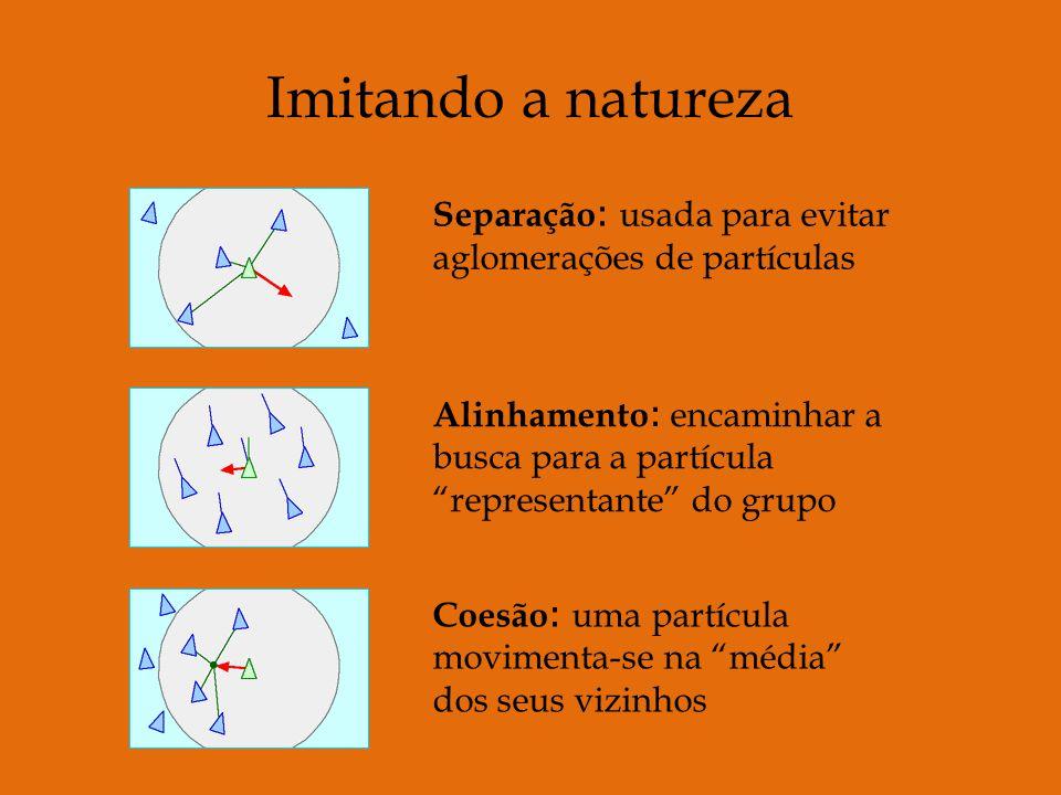 Separação : usada para evitar aglomerações de partículas Alinhamento : encaminhar a busca para a partícula representante do grupo Coesão : uma partícula movimenta-se na média dos seus vizinhos Imitando a natureza