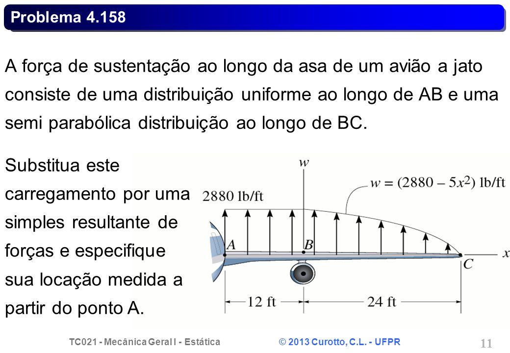 TC021 - Mecânica Geral I - Estática © 2013 Curotto, C.L. - UFPR 11 Problema 4.158 A força de sustentação ao longo da asa de um avião a jato consiste d