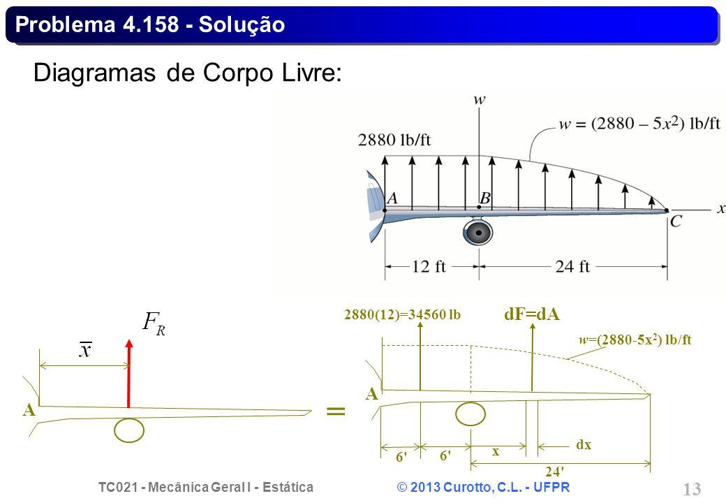 TC021 - Mecânica Geral I - Estática © 2013 Curotto, C.L. - UFPR 13 Problema 4.158 - Solução Diagramas de Corpo Livre: = 6'6' A 2880(12)=34560 lb 6'6'