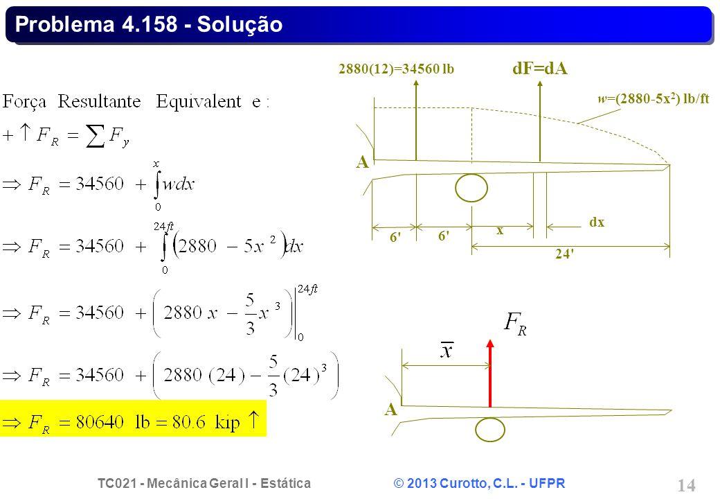 TC021 - Mecânica Geral I - Estática © 2013 Curotto, C.L. - UFPR 14 Problema 4.158 - Solução 6'6' A 2880(12)=34560 lb 6'6' x dx dF=dA w=(2880-5x 2 ) lb