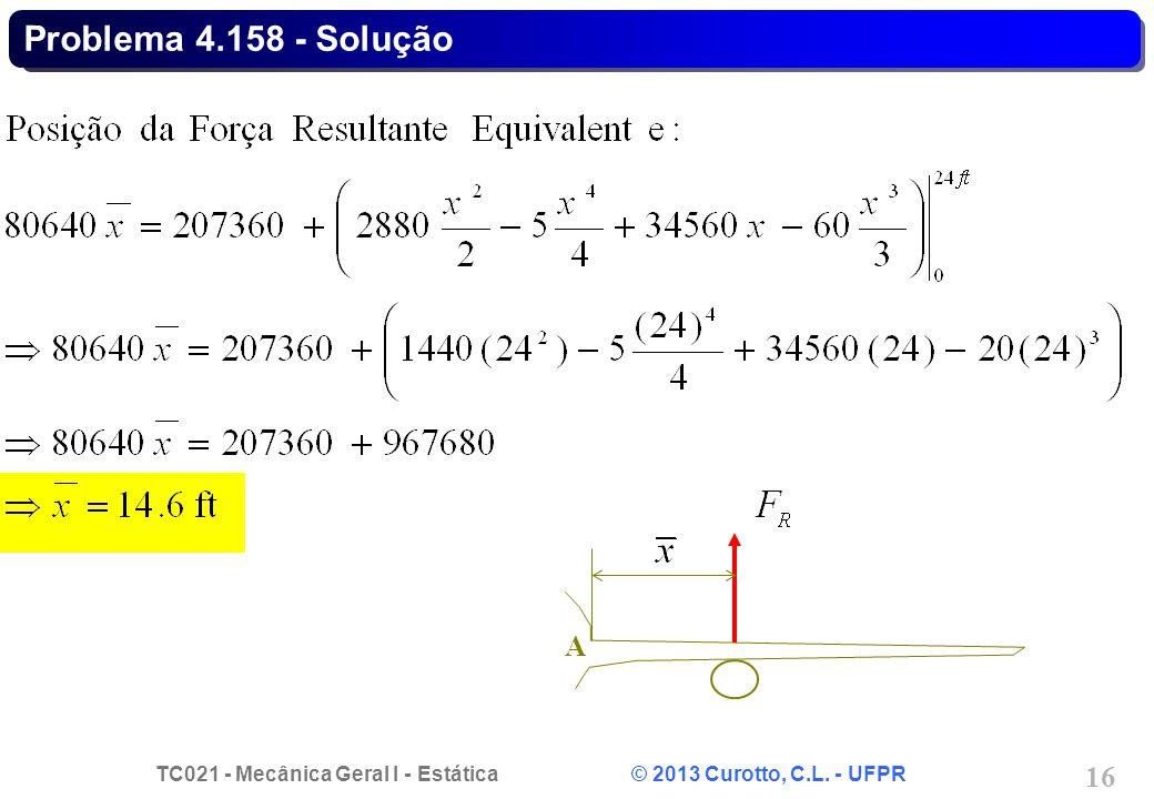TC021 - Mecânica Geral I - Estática © 2013 Curotto, C.L. - UFPR 16 Problema 4.158 - Solução A