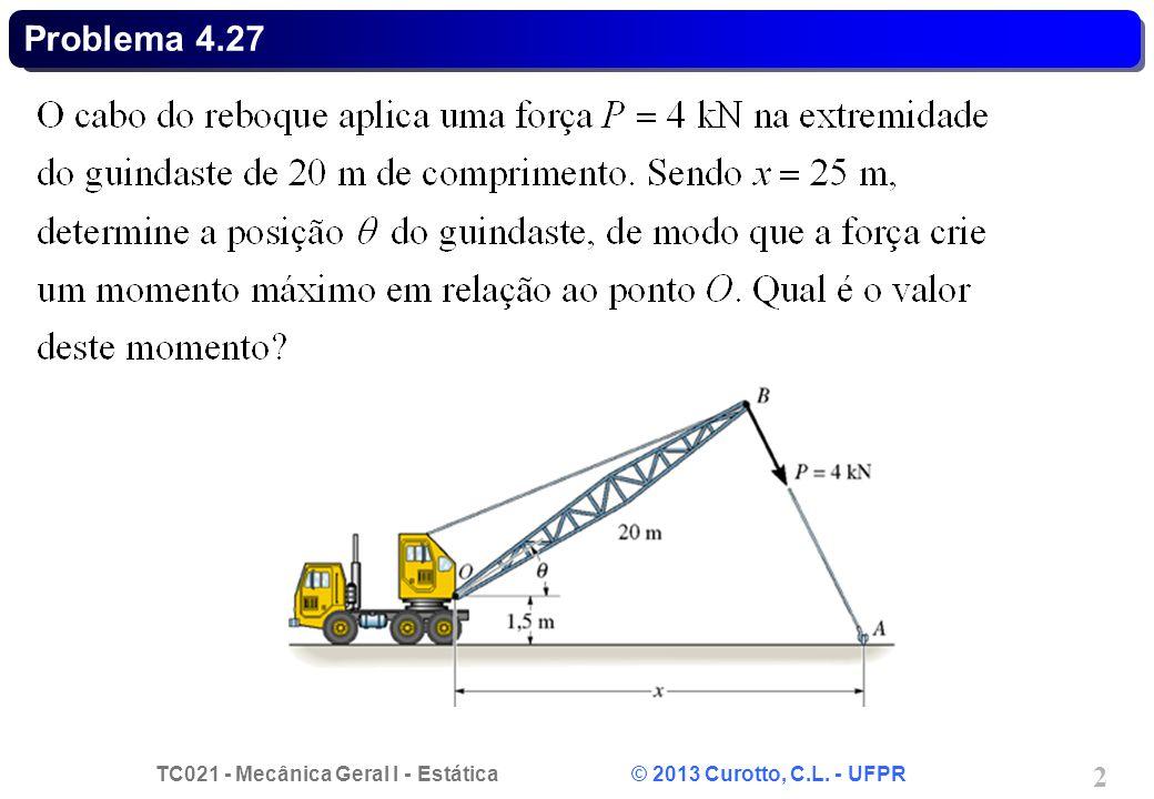 TC021 - Mecânica Geral I - Estática © 2013 Curotto, C.L. - UFPR 3 Problema 4.27 - Solução.