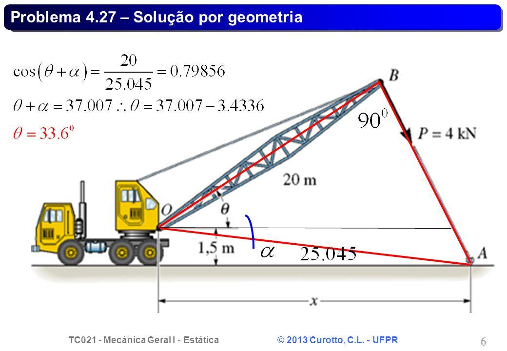 TC021 - Mecânica Geral I - Estática © 2013 Curotto, C.L. - UFPR 6 Problema 4.27 – Solução por geometria