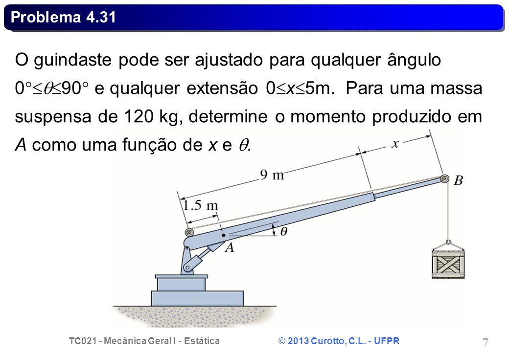 TC021 - Mecânica Geral I - Estática © 2013 Curotto, C.L. - UFPR 7 Problema 4.31 O guindaste pode ser ajustado para qualquer ângulo 0 90 e qualquer ext
