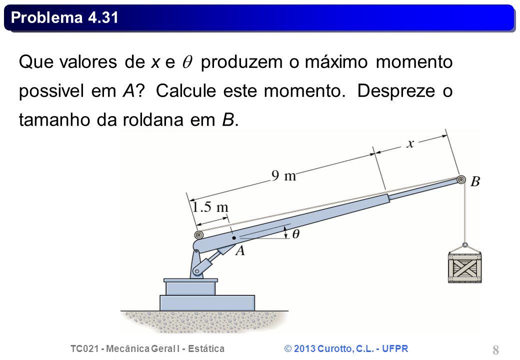TC021 - Mecânica Geral I - Estática © 2013 Curotto, C.L. - UFPR 8 Problema 4.31 Que valores de x e produzem o máximo momento possivel em A? Calcule es