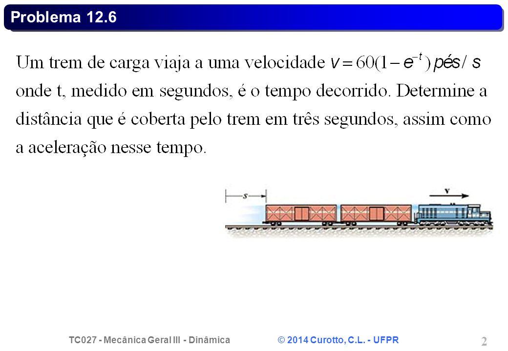 TC027 - Mecânica Geral III - Dinâmica © 2014 Curotto, C.L. - UFPR 2 Problema 12.6