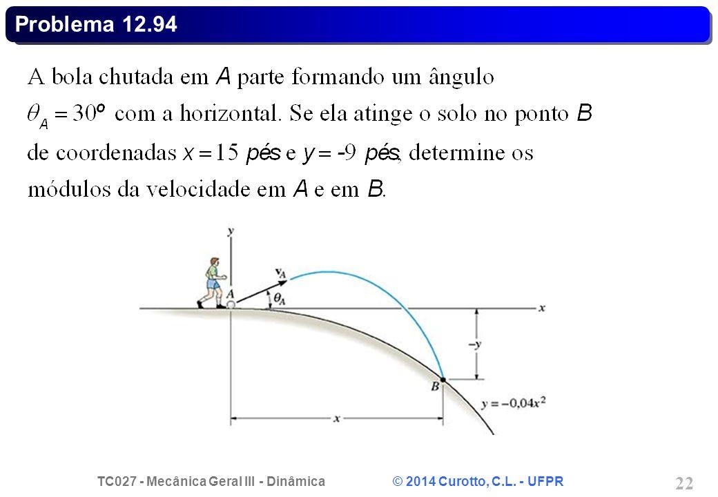 TC027 - Mecânica Geral III - Dinâmica © 2014 Curotto, C.L. - UFPR 22 Problema 12.94