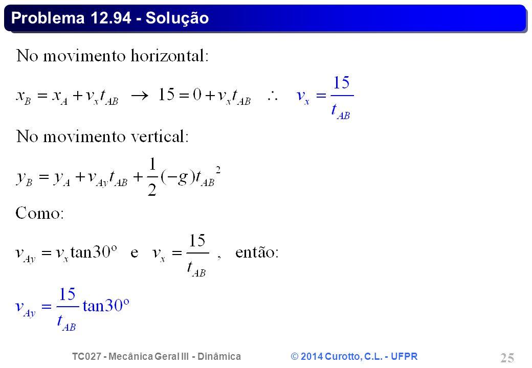TC027 - Mecânica Geral III - Dinâmica © 2014 Curotto, C.L. - UFPR 25 Problema 12.94 - Solução