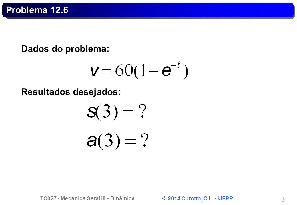 TC027 - Mecânica Geral III - Dinâmica © 2014 Curotto, C.L. - UFPR 34 Problema 12.206 - Solução