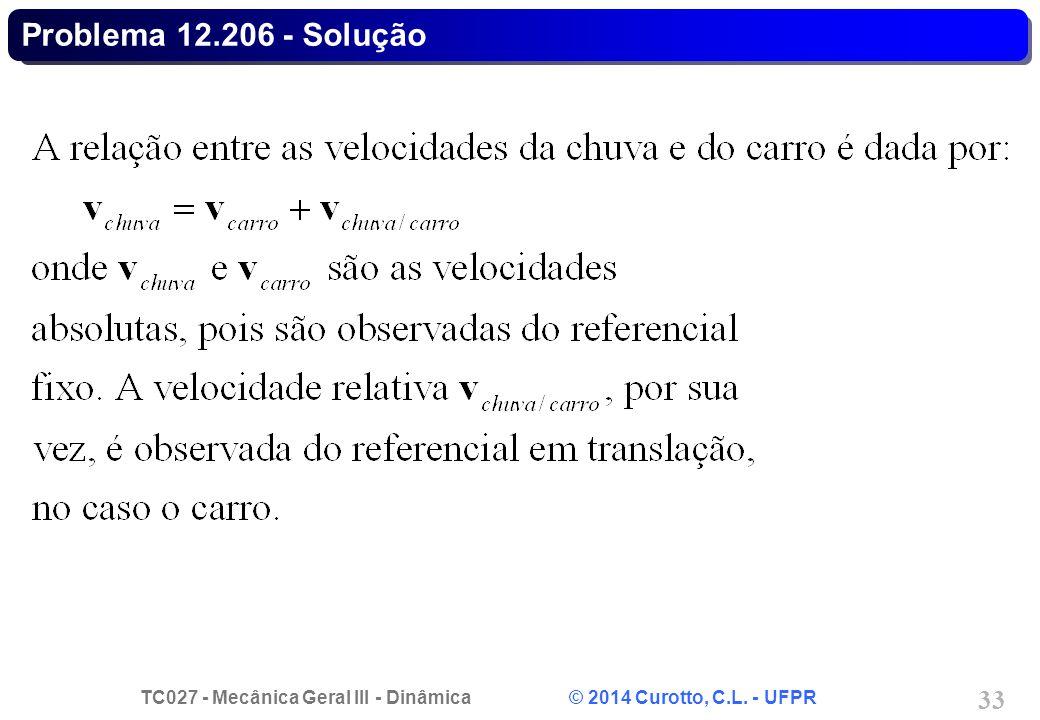 TC027 - Mecânica Geral III - Dinâmica © 2014 Curotto, C.L. - UFPR 33 Problema 12.206 - Solução
