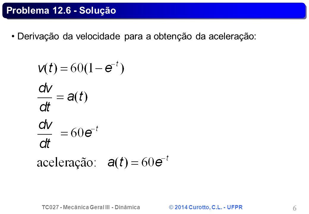 TC027 - Mecânica Geral III - Dinâmica © 2014 Curotto, C.L. - UFPR 7 Problema 12.6 - Solução