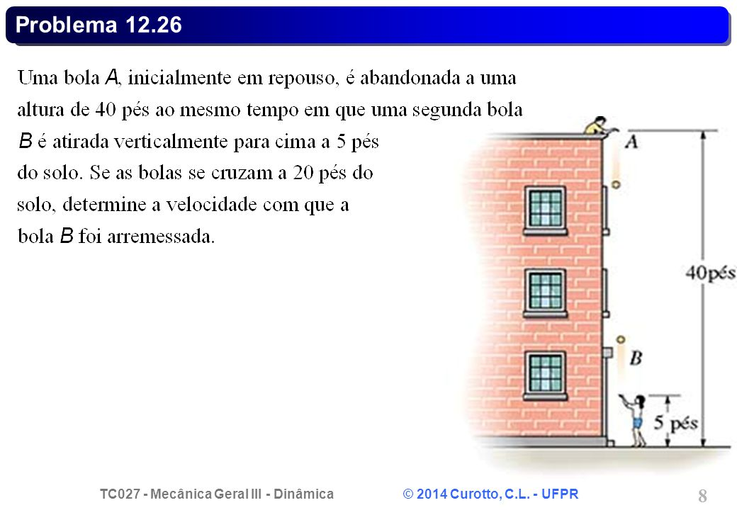 TC027 - Mecânica Geral III - Dinâmica © 2014 Curotto, C.L. - UFPR 29 Problema 12.106